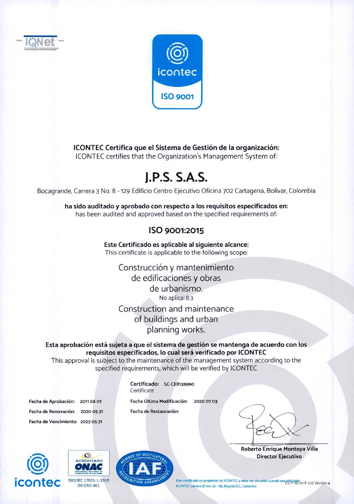 RE CERTIFICACIÓN ISO 9001:2008